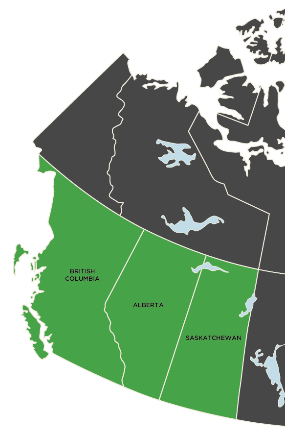 British Columbia, Alberta and Saskatchewan Map