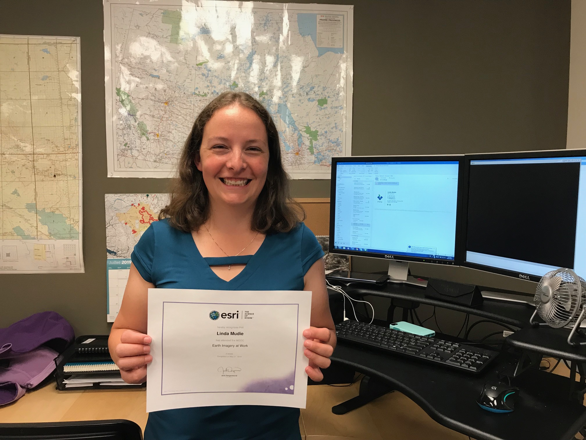 Linda Mudie earns Esri's Earth Imagery at Work Certificate