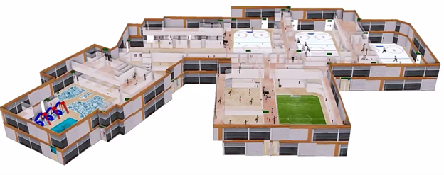 ArcGIS Indoors 3D Model of the Spray Lake Sawmills Family Sports Centre