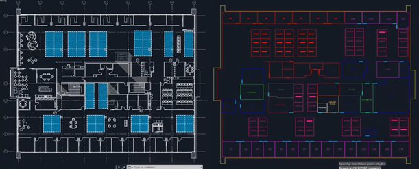 The original PDF floor plan (left) was imported into AutoCAD and used to create CAD features (right)
