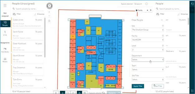 The Indoor Space Planner Web Application showing a panel on the right for filtering data